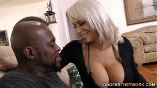 Old Fake Tit Blonde Filled With Black Cock